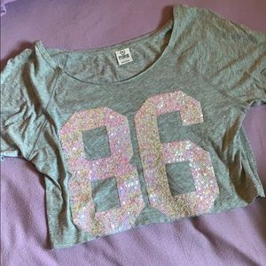*rare* PINK sequin crop top